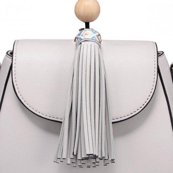 Saszetka Etno z modnym frędzlem szara