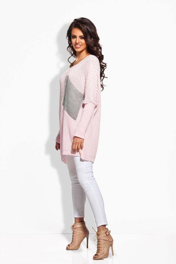 Sweter oversize z kieszenią pudrowy róż - jasnoszary