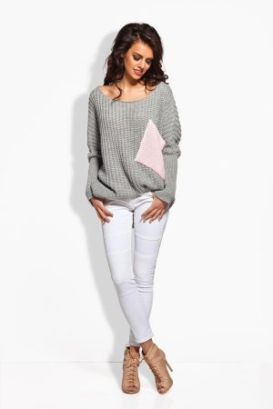 Sweter oversize z kieszenią jasnoszary-pudrowy róż