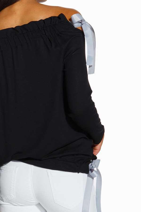 Bluzka ze wstążkami czarny