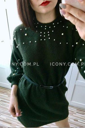 Sukienka swetrowa perełki khaki
