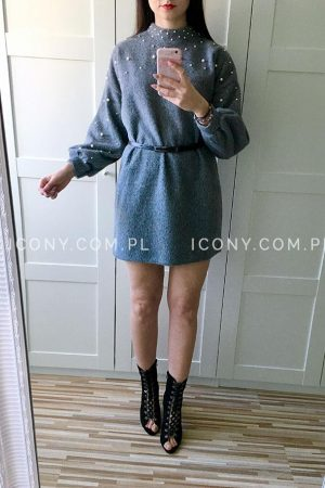 Sukienka swetrowa perełki szara