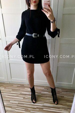 Sukienka swetrowa z wiązaniami na rękawach czarna