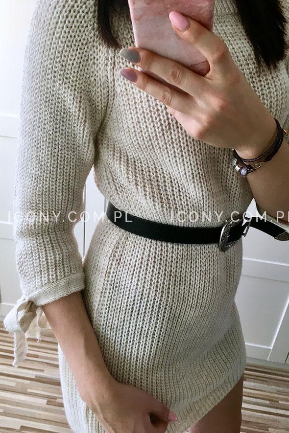 Sukienka swetrowa z wiązaniami na rękawach beż