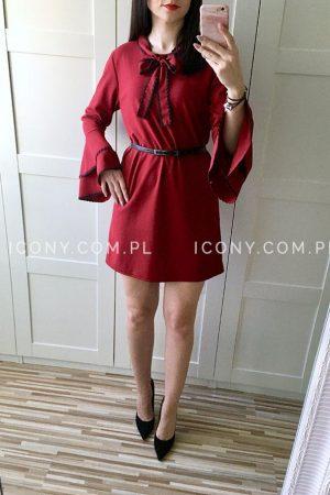 Sukienka wiązana pod szyją bordowa