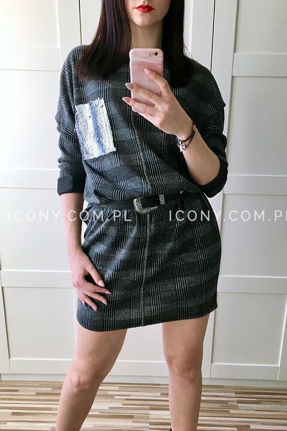 Sukienka oversize krata ciemno-szara
