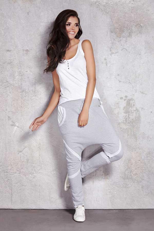 Spodnie damskie luźne z przeszyciami szare