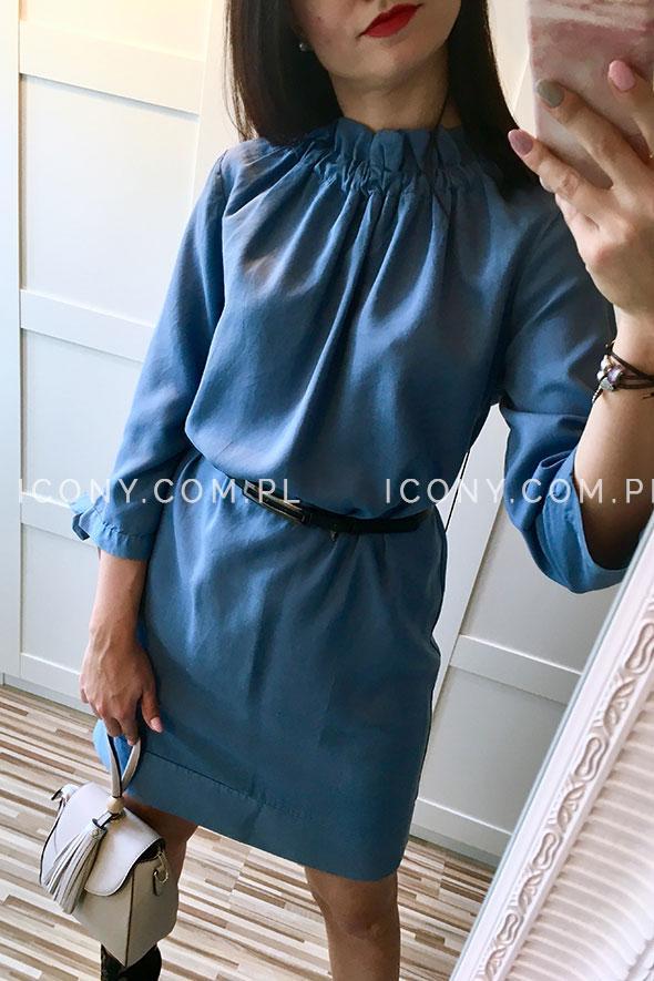 Sukienka z lyocellu włoska niebieska