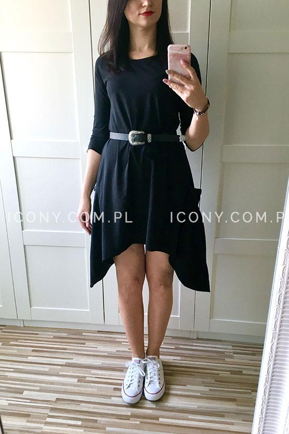 Sukienka dzianinowa asymetryczna z kieszeniami czarna