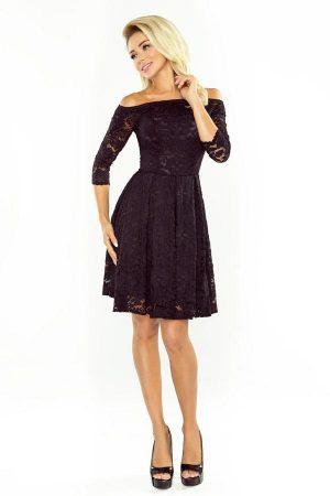 Sukienka wieczorowa koronkowa z odkrytymi ramionami czarna