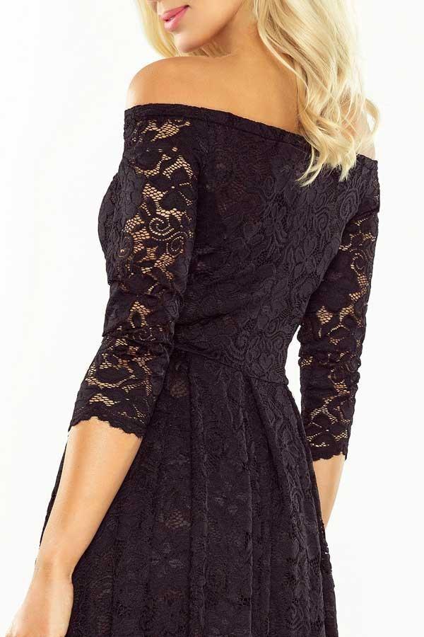 Sukienka koronkowa z odkrytymi ramionami czarna