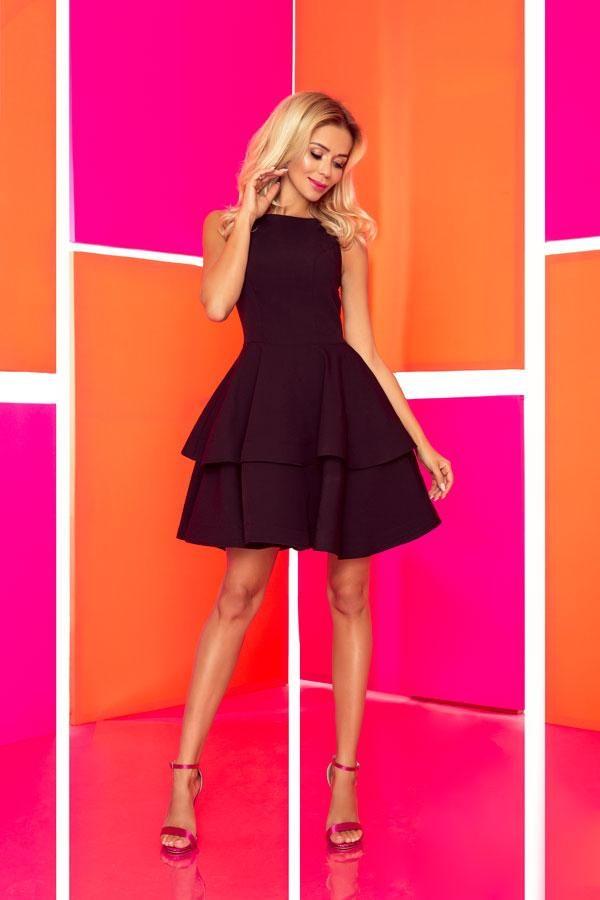 Sukienka wieczorowa rozkloszowana czarna - duże rozmiary.