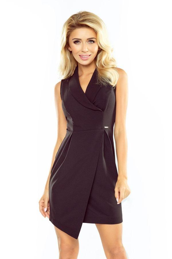 Sukienka wieczorowa asymetryczna z kołnierzem czarna