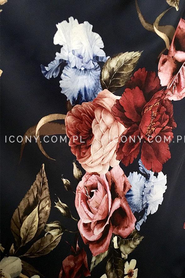 Modna zwiewna sukienka włoska w kwiaty