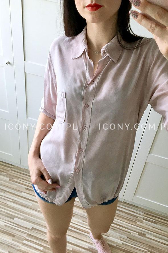 Luźna koszula z kieszonką pudrowy róż