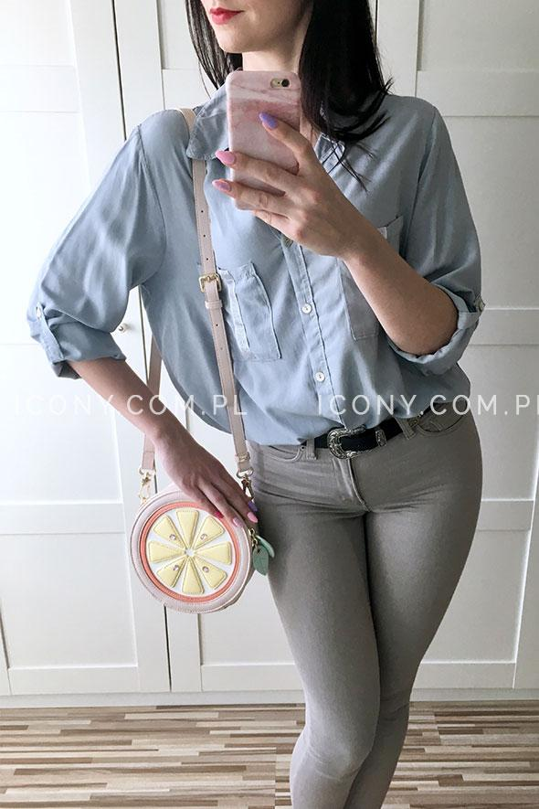 Luźna koszula damska włoska błękitna