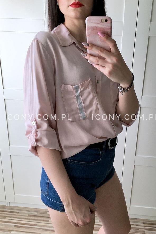 Luźna koszula damska włoska pudrowy róż