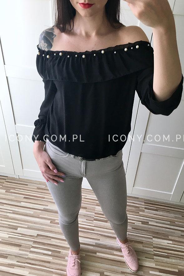 Bluzka włoska z odkrytymi ramionami czarna