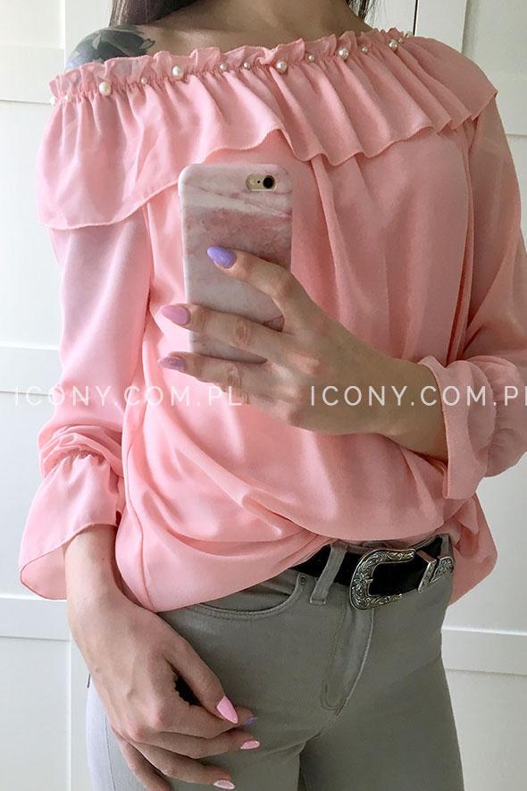 Bluzka włoska z odkrytymi ramionami pudrowy róż