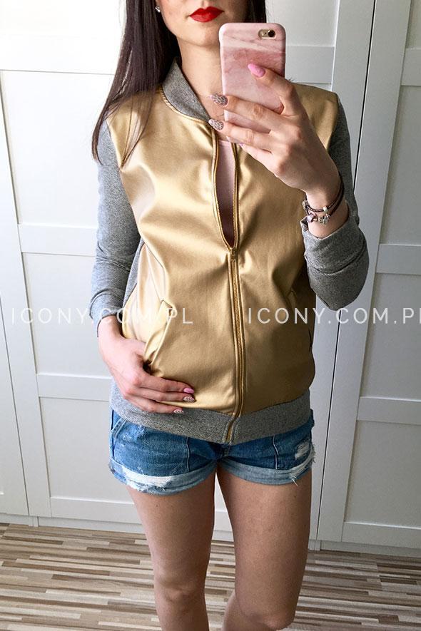 Bluza bomberka złoto-szara