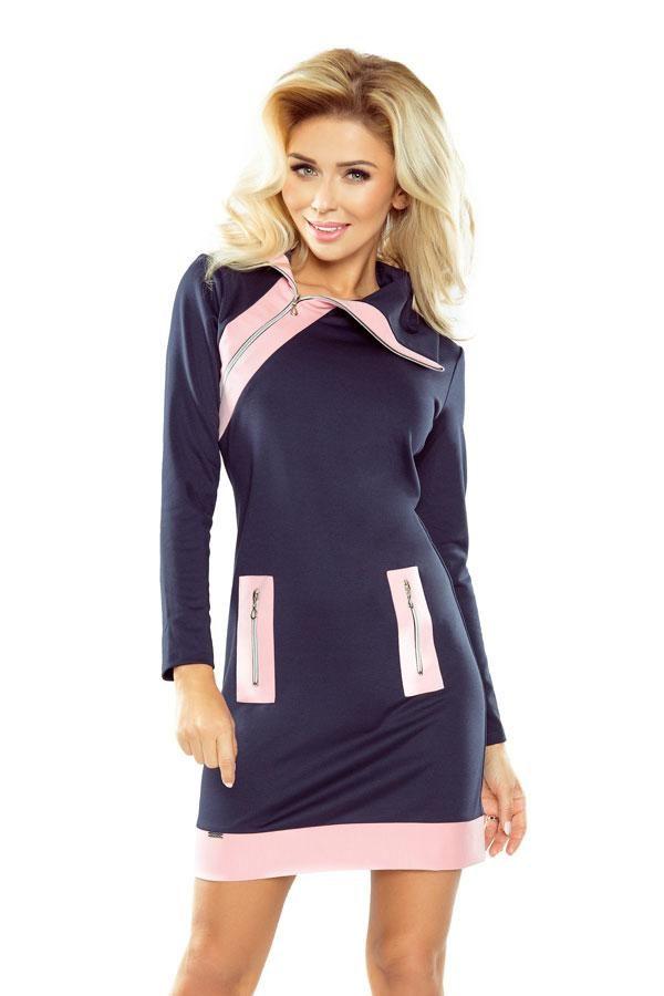 Sukienka z zamkami granatowo-różowa