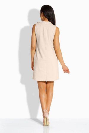 Modna sukienka z ozdobnymi guzikami beż
