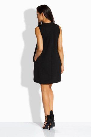 Modna sukienka z ozdobnymi guzikami czarna