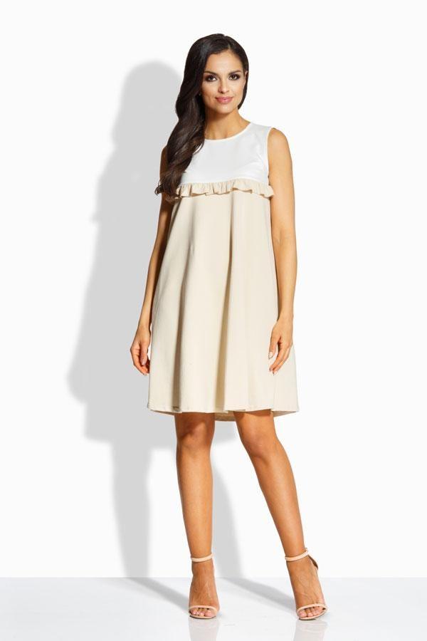 Elegancka sukienka o luźniejszym kroju ekri-beżowy