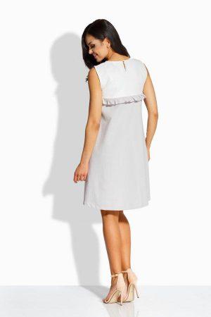 Elegancka sukienka o luźniejszym kroju ekri-stalowy