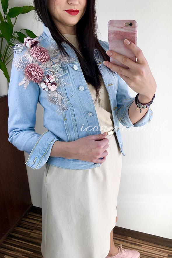 Katana jasny jeans z kwiatami i koronką