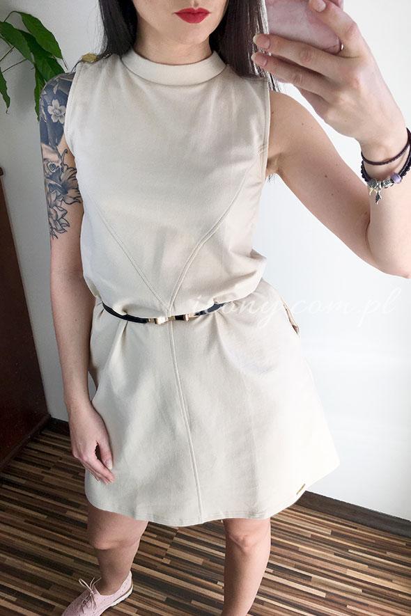 Sukienka beżowa bawełniana