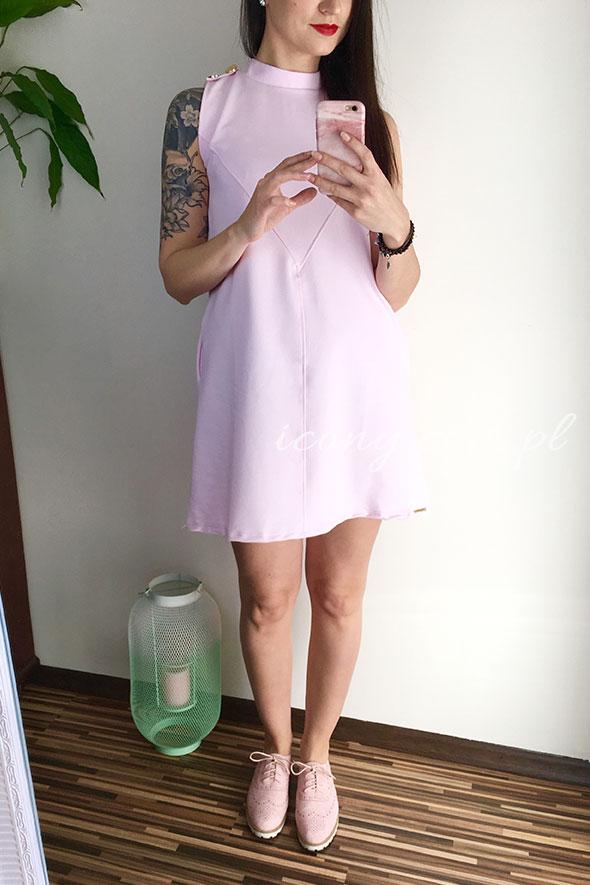Sukienka różowa luźna bawełniana idealna dla każdego brzuszka.