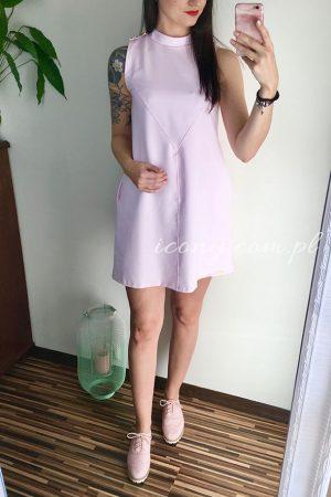 Sukienka ciążowa różowa w kształcie trapezu od polskiego producenta.