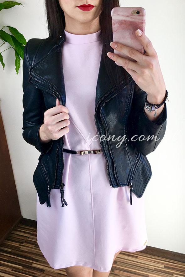 Sukienka różowa z czarną ramoneską