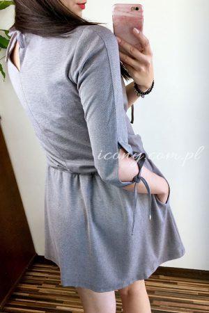Sukienka szara wiązana na rękawach