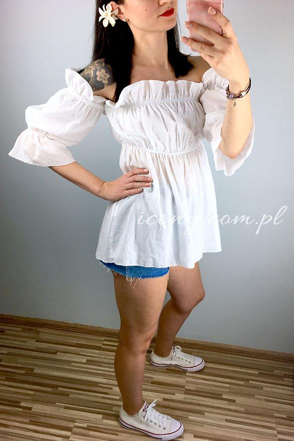 Bluzka hiszpanka biała bawełniana