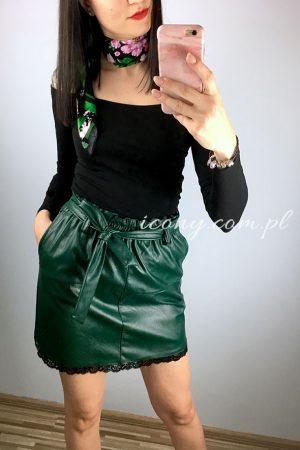 Spódnica włoska z koronką khaki.