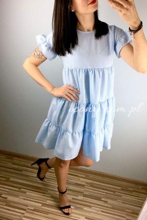Sukienka letnia błękitna, rozkloszowana od linii biustu, pomieści każdy brzuszek.