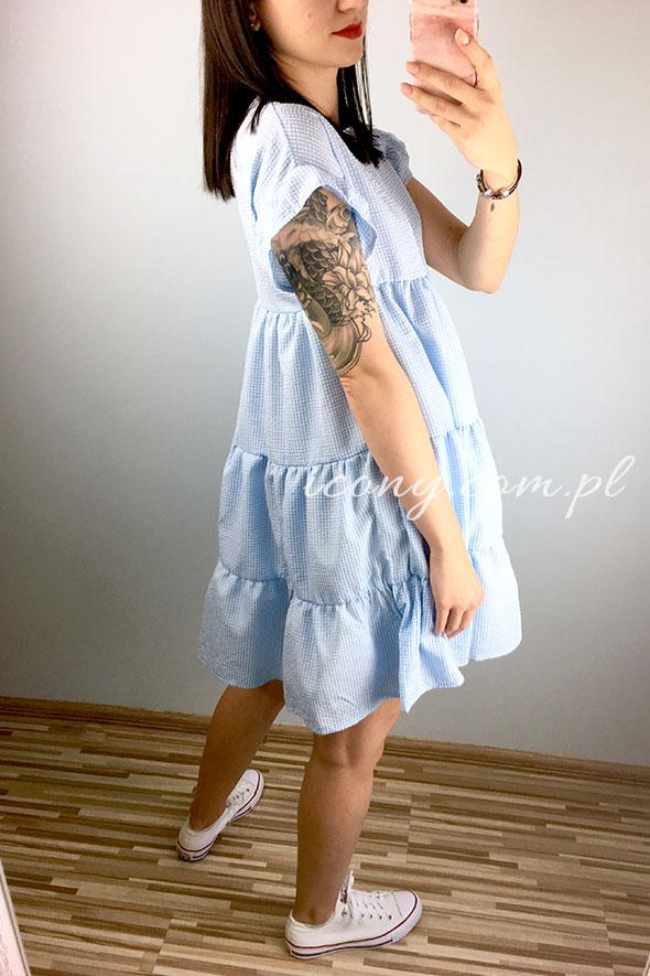 Sukienka letnia ciążowa w drobną krateczkę.
