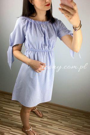 Koszulowa sukienka hiszpanka w paski wiązana na rękawkach.