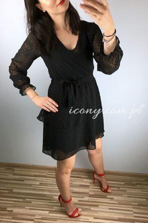 Sukienka wieczorowa czarna, zwiewna, dwie falbanki.