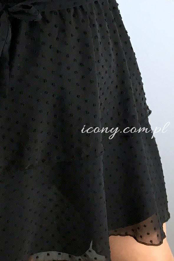 Sukienka czarna z teksturą.